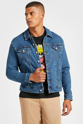 Denim Long Sleeves Trucker Jacket with Pocket Detail