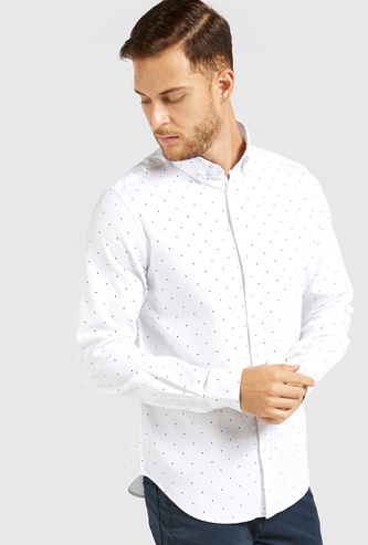 Printed Shirt with Button Down Collar and Long Sleeves