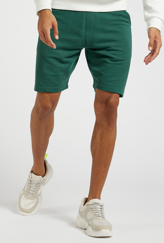 Textured Mid-Rise Shorts with Pocket Detail and Drawstring Closure