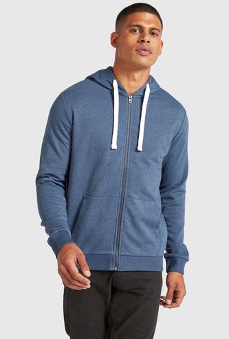 Solid Zip Through Hoodie with Long Sleeves