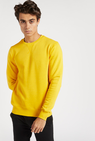 Solid Sweatshirt with Round Neck and Long Sleeves