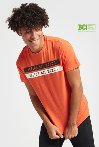 Typographic Print T-shirt with Crew Neck and Short Sleeves