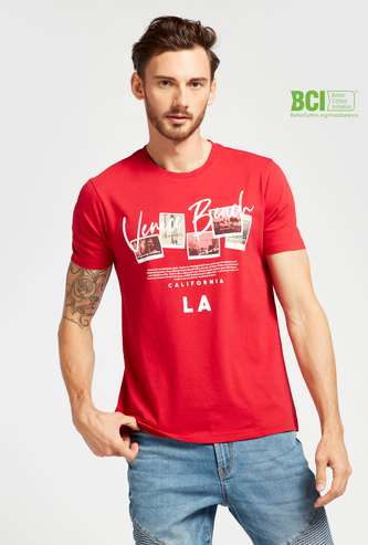 Landscape Grid Graphic Print T-shirt with Round Neck and Short Sleeves