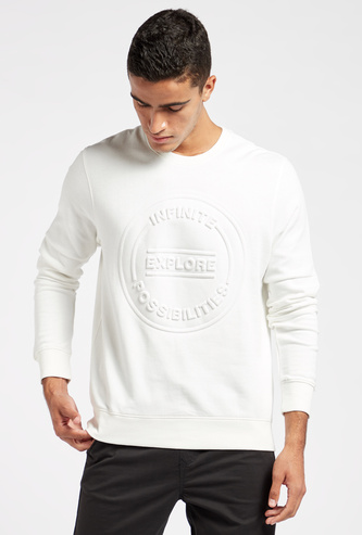 Embossed Sweatshirt with Crew Neck and Long Sleeves