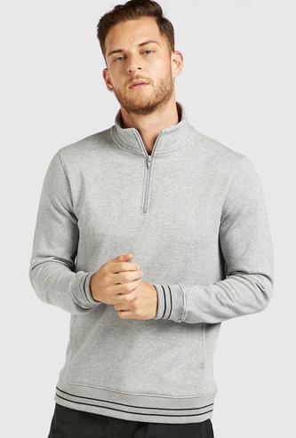 Textured High Neck Sweatshirt with Long Sleeves and Half Zip Closure