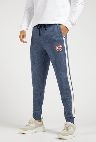 Textured Jog Pants with Side Tape Detail and Drawstring Closure