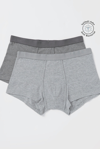 Pack of 2 - Solid Hipster Trunks with Elasticised Waistband