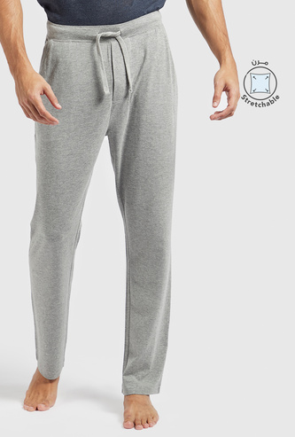 Full Length Solid Lounge Pants with Drawstring Closure