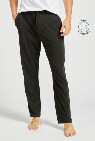 Solid Lounge Pants with Drawstring Closure