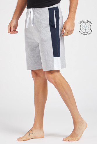 Solid Tape Detail Lounge Shorts with Pockets and Drawstring