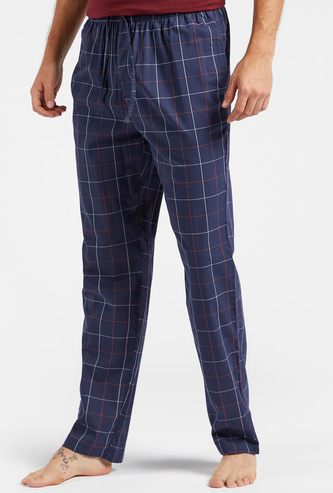Full Length Checked Pyjamas with Pocket Detail and Drawstring Closure
