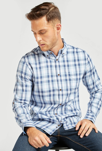Checked Regular Fit Collared Shirt with Long Sleeves