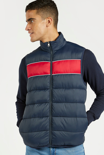 Solid Padded Sleeveless Jacket with High Neck and Pocket Detail