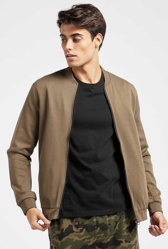 Solid Twill Bomber Jacket with Pockets and Long Sleeves