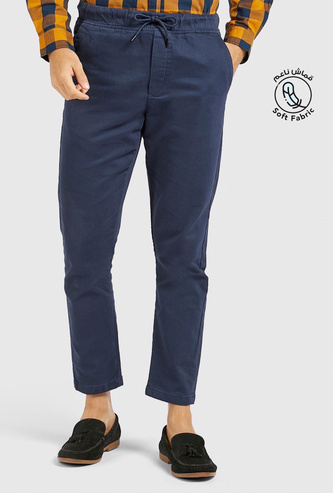 Slim Fit Solid Chinos with Pockets and Drawstring