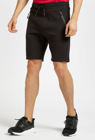Slim Fit Solid Shorts with Pocket Detail and Drawstring Closure