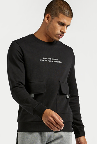 Slim Fit Typographic Print Round Neck Sweatshirt with Flap Pockets