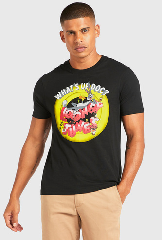 Looney Tunes Graphic Print T-shirt with Short Sleeves