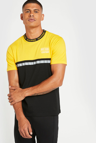 Printed T-shirt with Reflective Tape Panel Detail and Short Sleeves