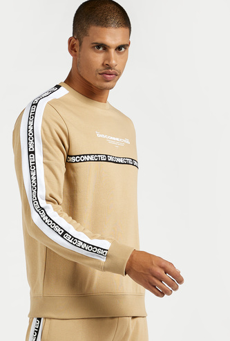 Printed Sweatshirt with Long Sleeves and Tape Detail