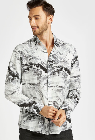 Slim Fit All-Over Print Shirt with Spread Collar and Long Sleeves