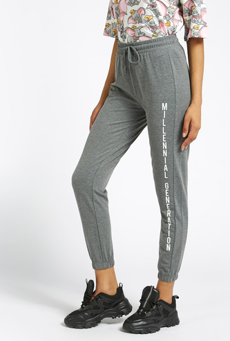 Printed Ankle Length Joggers with Drawstring Closure
