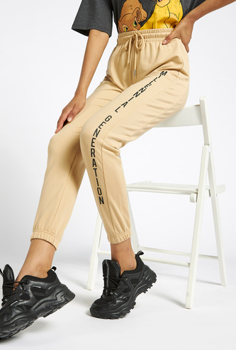 Typographic Print Joggers with Drawstring Closure