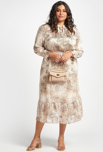 All-Over Print Midi A-line Dress with Bishop Sleeves and Tie-Ups