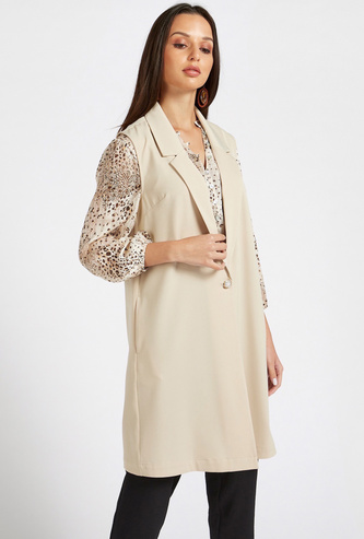Solid Longline Sleeveless Overcoat with Button Closure