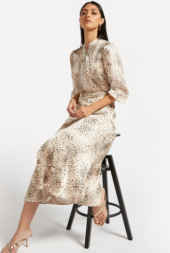 Animal Print A-line Midi Skirt with Half Front Button Detail