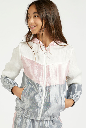 Colourblock Jacket with Long Sleeves and Pocket Detail