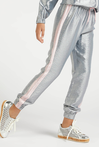 Textured Ankle Length Joggers with Drawstring Closure