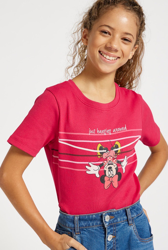 Minnie Mouse Print Bodysuit with Round Neck and Short Sleeves