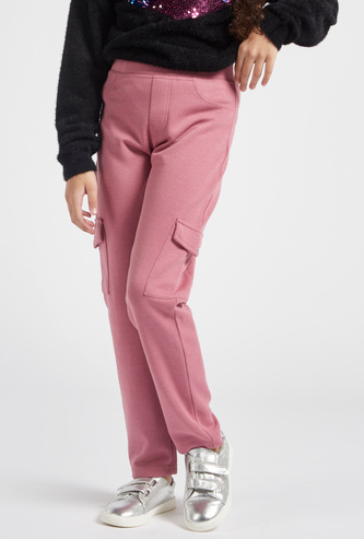 Solid Mid-Rise Pants with Elasticated Waistband and Pockets