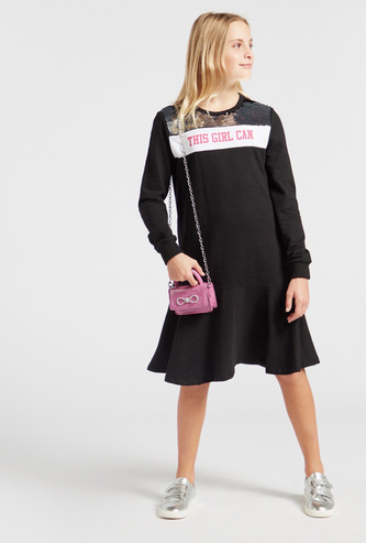 Embellished Knee Length Dress with Long Sleeves