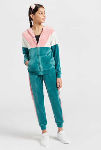 Colour-Blocked Hoodie and Full-Length Joggers Set