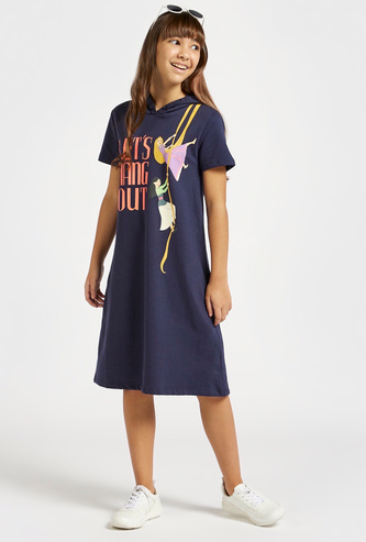 Disney Princess Print Sweat Dress with Hood and Short Sleeves