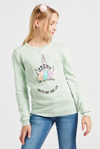 Unicorn Embellished Sweater with Round Neck and Long Sleeves