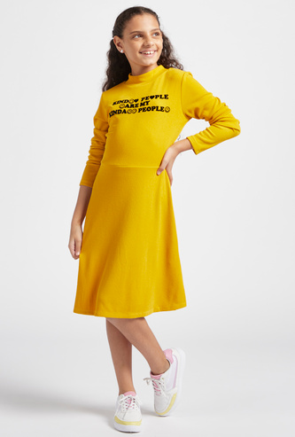 Textured Dress with High Neck and Long Sleeves