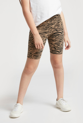 Zebra Print Slim Fit Cycling Shorts with Elasticised Waistband