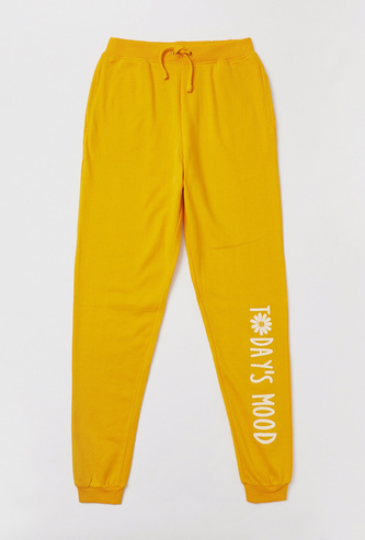 Typographic Print Full-Length Joggers with Drawstring Closure