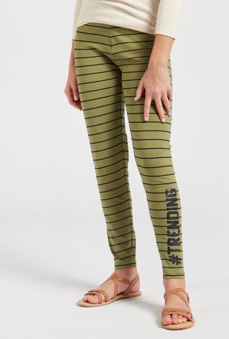 Striped Full-Length Leggings with Elasticated Waistband