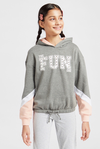 Printed and Embellished Hooded Sweatshirt with Long Sleeves