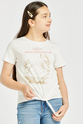 Alice in Wonderland Print Round Neck T-shirt with Short Sleeves and Front Knot Detail