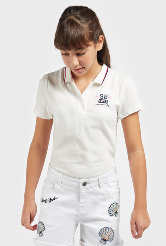 Embroidery Detail Polo T-shirt with Short Sleeves