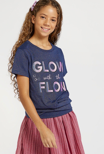 Glitter Accent Twist T-shirt with Round Neck and Short Sleeves