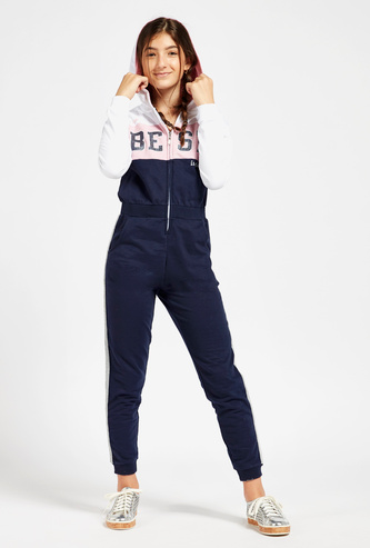 Slogan Print Colourblock Jumpsuit with Pockets and Hood