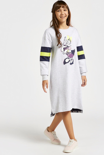 Daisy Duck Print Sweat Dress with Long Sleeves and High Low Hem