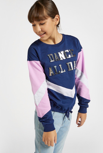 Text Embossed and Panel Detail Sweatshirt with Long Sleeves