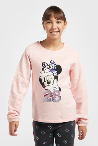 Minnie Mouse Print Sweatshirt with Round Neck and Long Sleeves